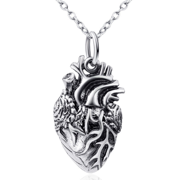 Necklace - 925 sterling silver jewelry Europe and the United States heart pendant walking dead meat necklace Thai silver Amazon factory direct wholesale