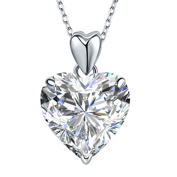 Necklace - Heart Simulated Diamond Pendant Necklace 925 Sterling Silver Bridesmaid Wedding Jewelry