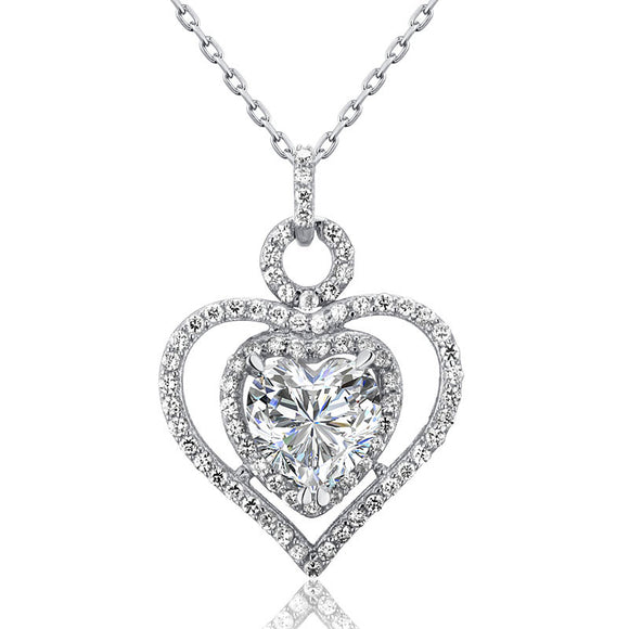 Necklace - 3 Carat Simulated Diamond 925 Sterling Silver Heart Pendant Necklace