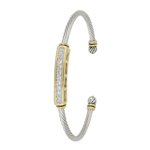 Celebration Petite Pavé Bar Wire Cuff Bracelet