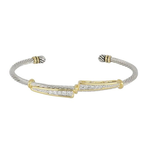 Celebration Petite Pavé Duel Channel Wire Cuff Bracelet