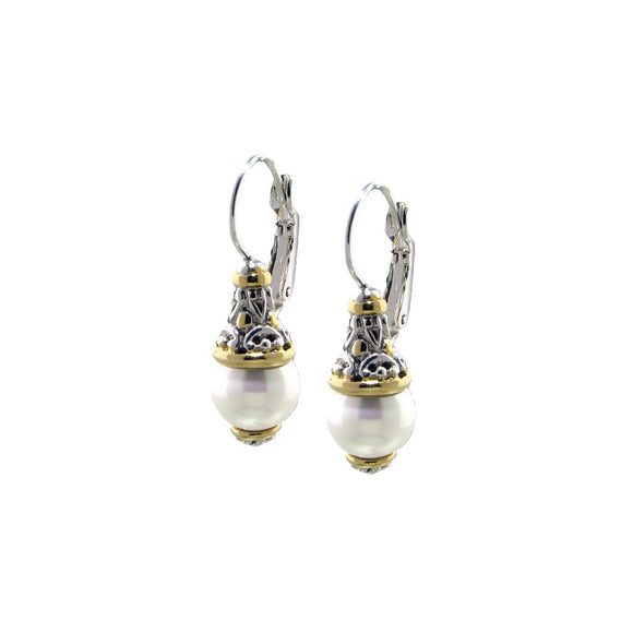Ocean Images Collection Seashell Pearl French Wire Lever Back Earrings