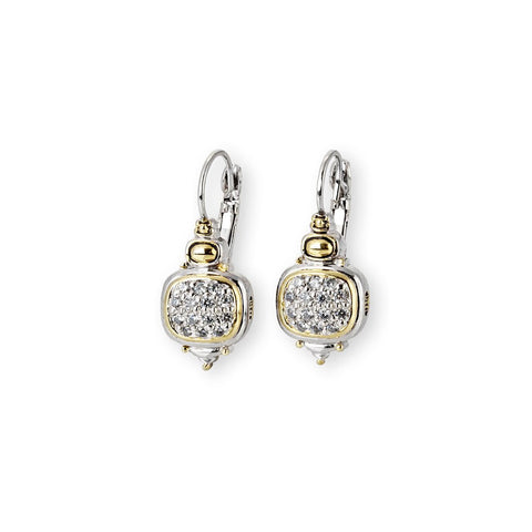 Nouveau CZ French Wire Lever Back Earrings