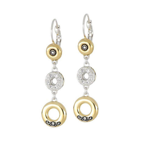 Ciclo D'Amor Large Pavé & Gold Triple Drop Dangle Earrings