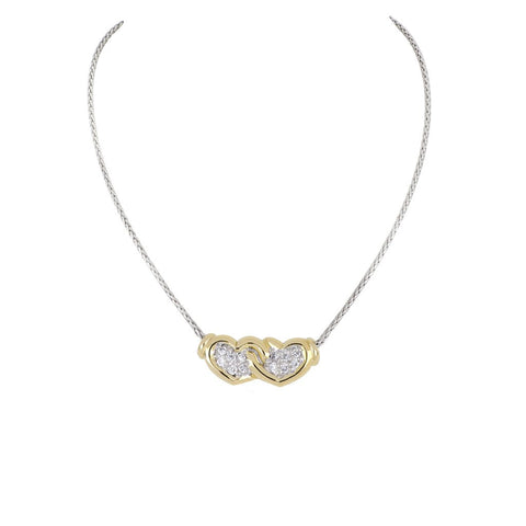 Celebration Petite Pavé Double Heart Necklace