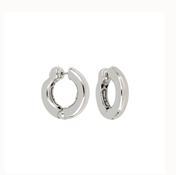 Ciclo D'Amor Small Rhodium Huggie Earring