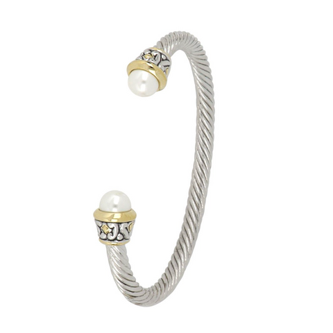 Ocean Images Collection Thin 8mm Pearl Wire Cuff Bracelet
