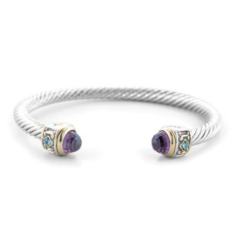 Nouveau Small Wire Cuff Amyethyst with Accent Stone