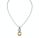 Ciclo D'Amor Two Tone Dbl Circle Pendant Necklace