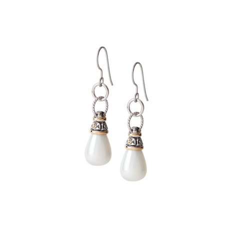 Ocean Images Collection Seashell Pearl Fish Hook Earrings