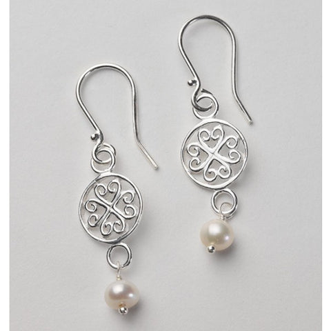 Southern Gates Scroll Pearl Earring