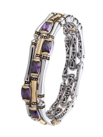Cor Collection Thee Row Hinged Bangle Bracelet (AMETHYST)