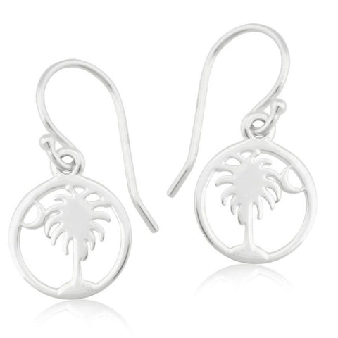 Southern Gates Round Palmetto Tree and Moon Earring