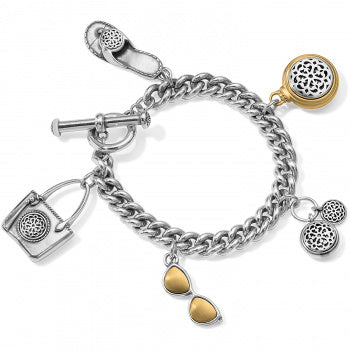 Ferrara Two Tone Toggle Charm Bracelet