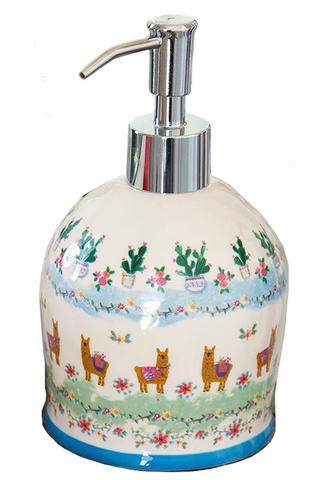 Llama & Cactus Ceramic Pump Soap Dispenser