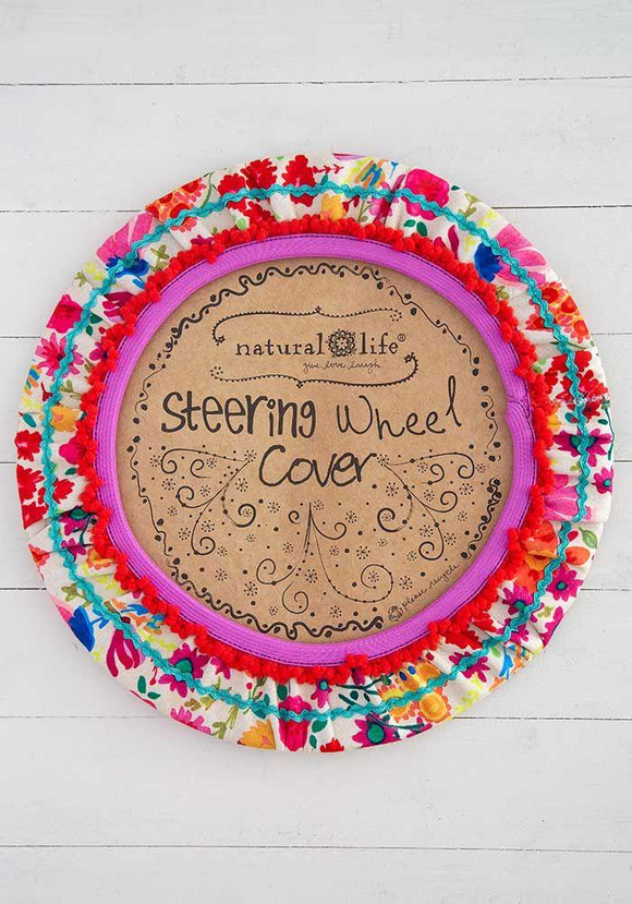 Hot Pink Floral Steering Wheel Cover