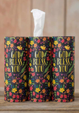 God Bless You Black Floral Car Tissues