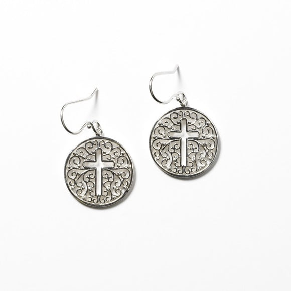 Southern Gates Round Cross Cutout Earring