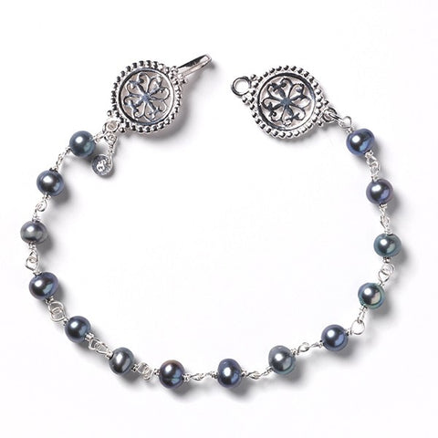 Southern Gates Hand Wrought Pearl Bracelet® 2 white 1 blue