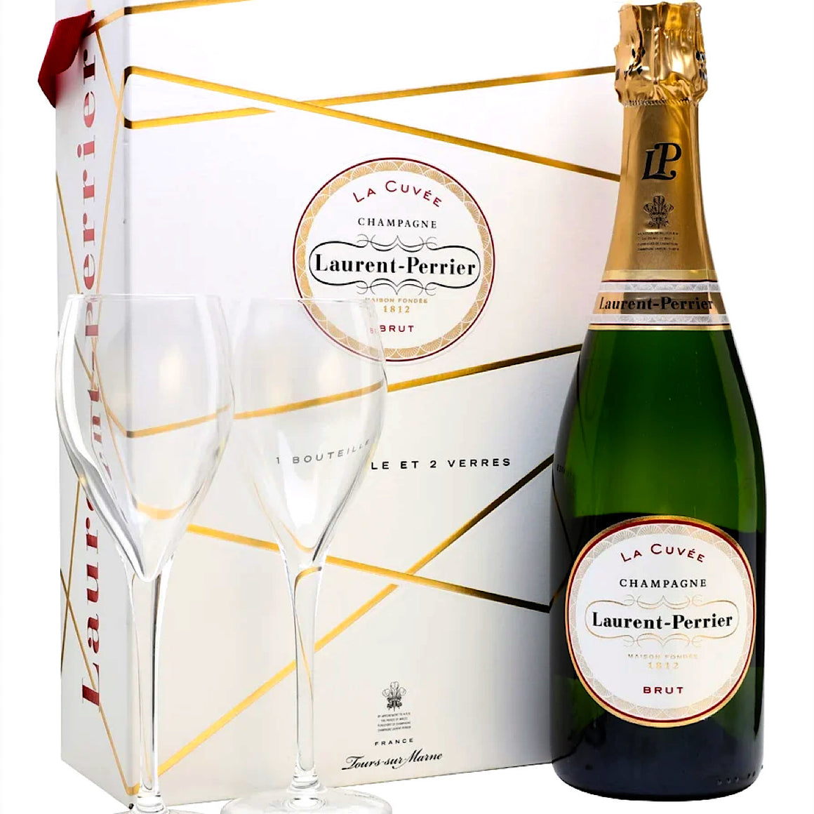 Laurent Perrier La Cuvee Brut Champagne 75cl 2 Glasses Gift Set
