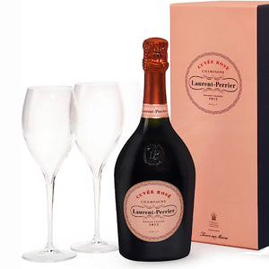 12 Laurent-Perrier Cuvee Rose NV Gift Box Champagne With 6 Laurent Perrier Glasses