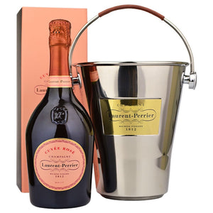 Laurent Perrier Rose NV Champagne with Ice bucket and 2 Laurent Perrier Glasses Unboxed