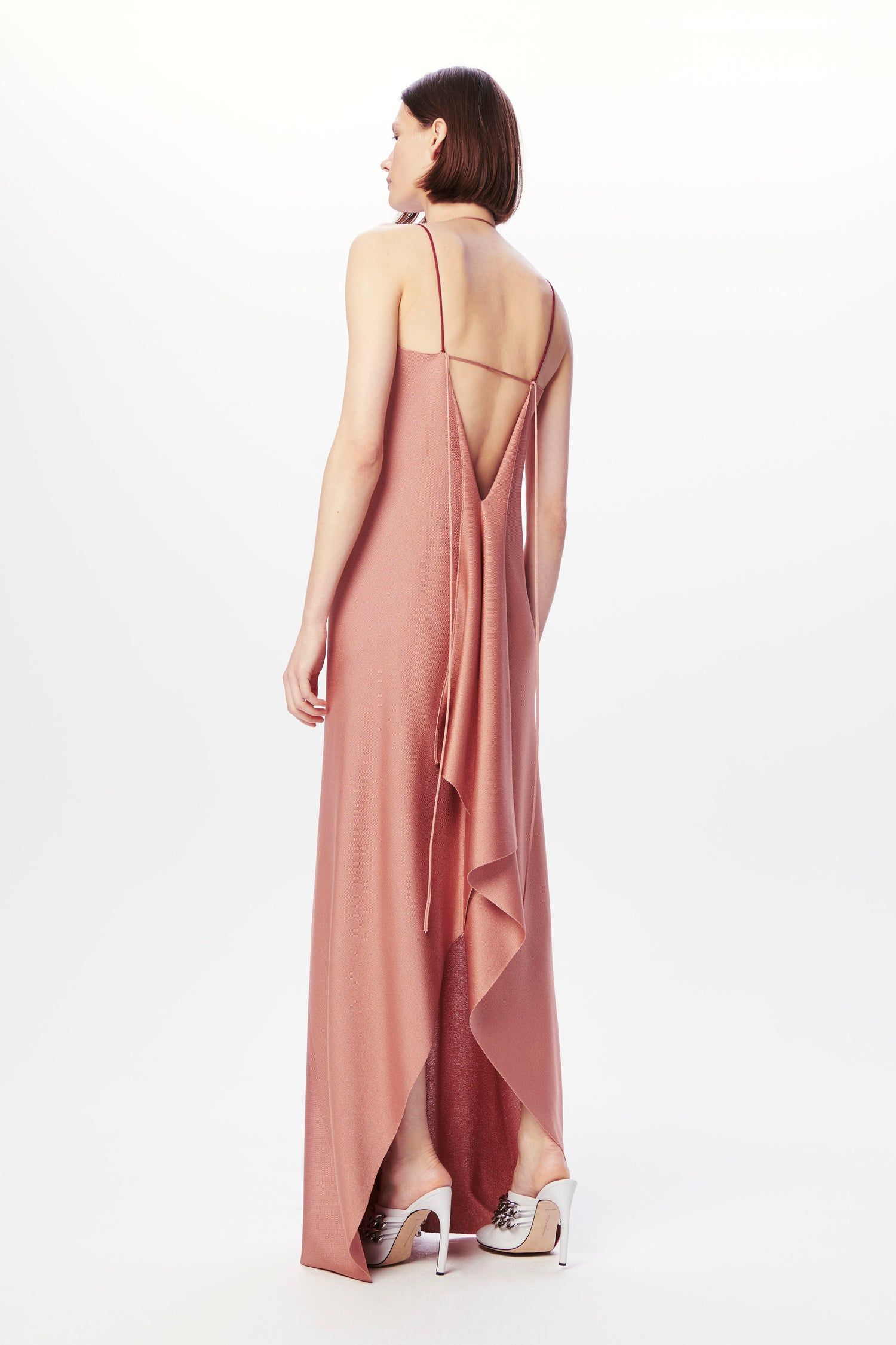 Ruched-Neck Dress in Rose Nude