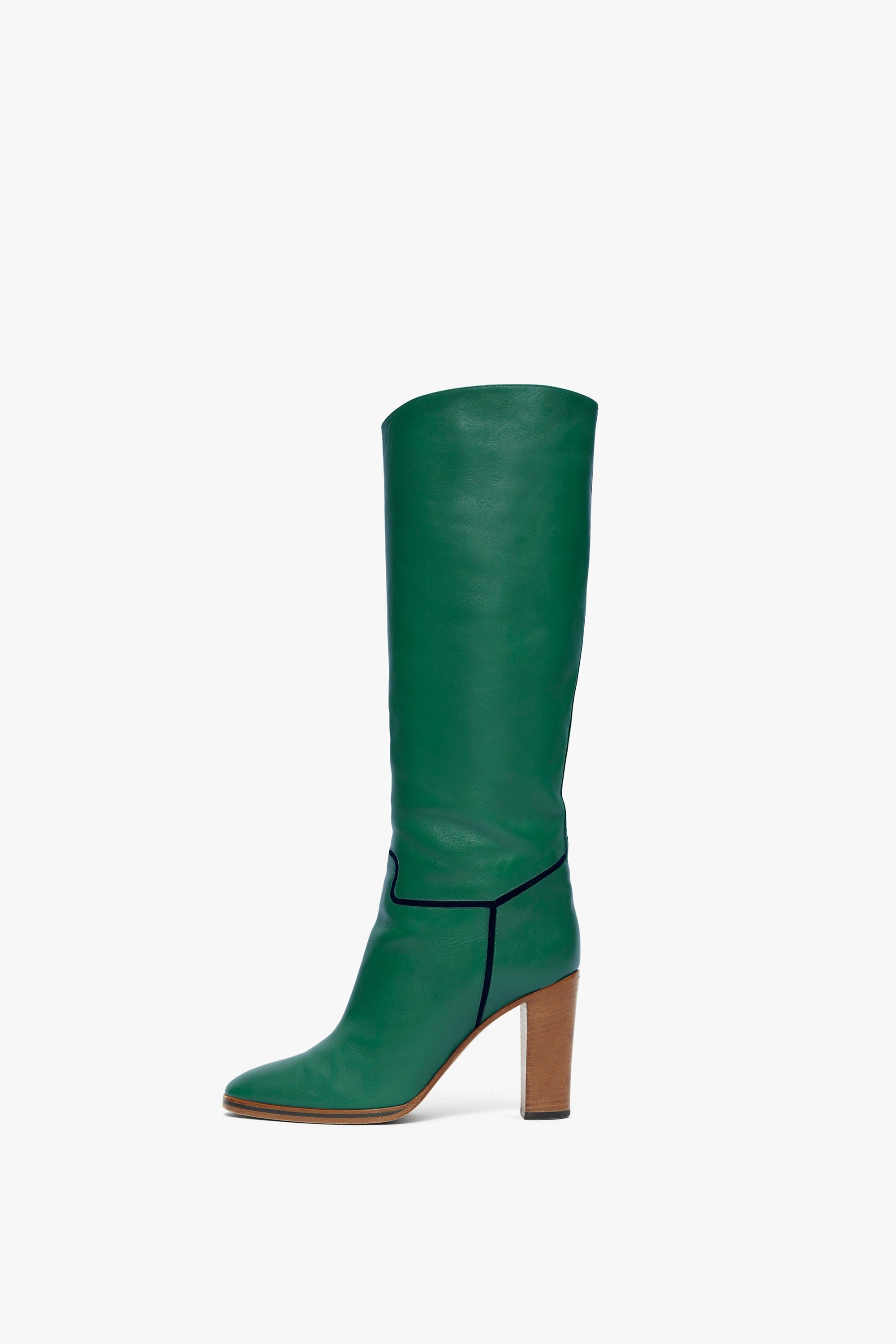 Valentina Knee-high Leather 95mm Boot in Mint Green