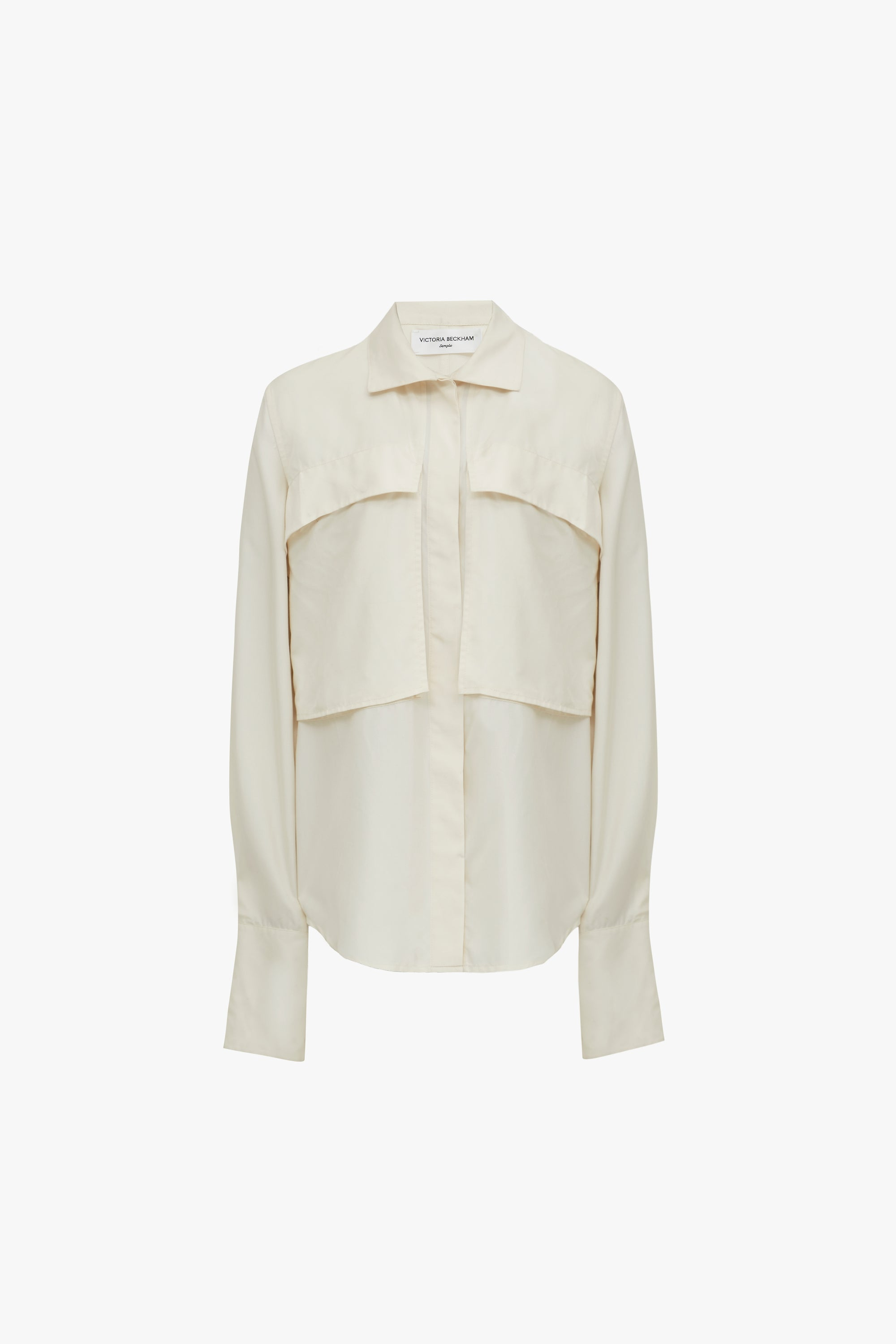 Funnel-neck Shirt in Off-White