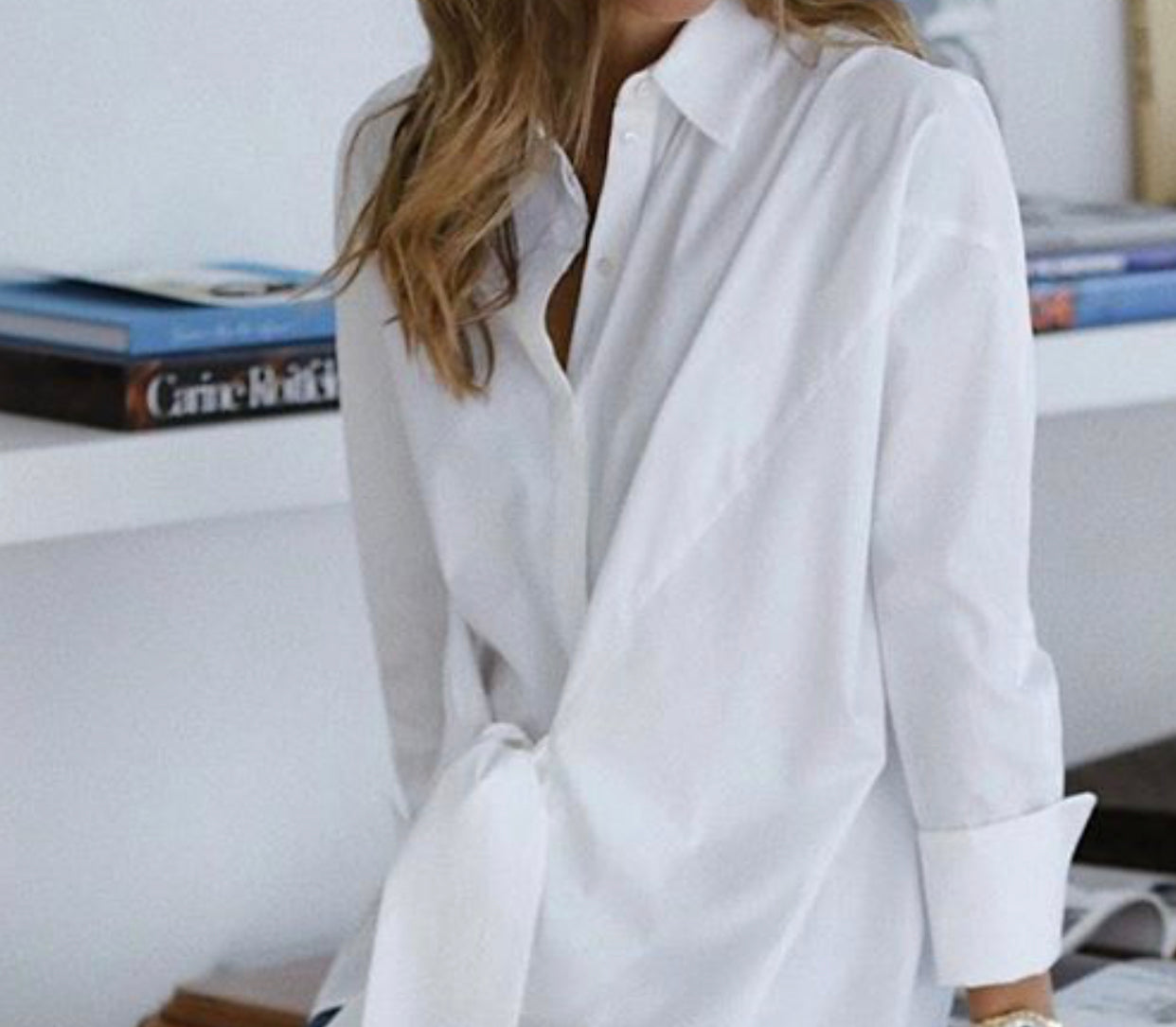 Wrap Front Shirt in White