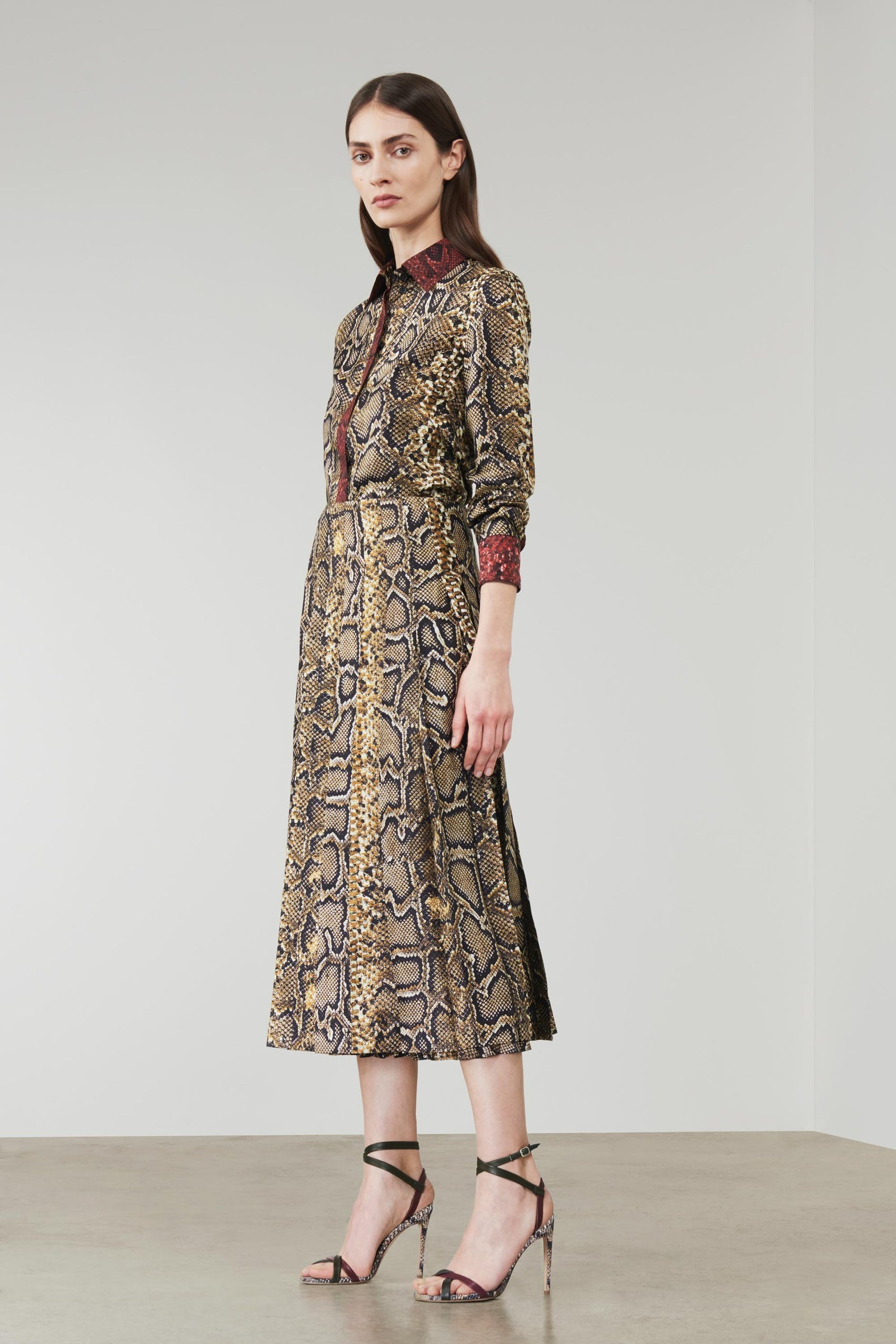 Snake print pleated skirt and blouse