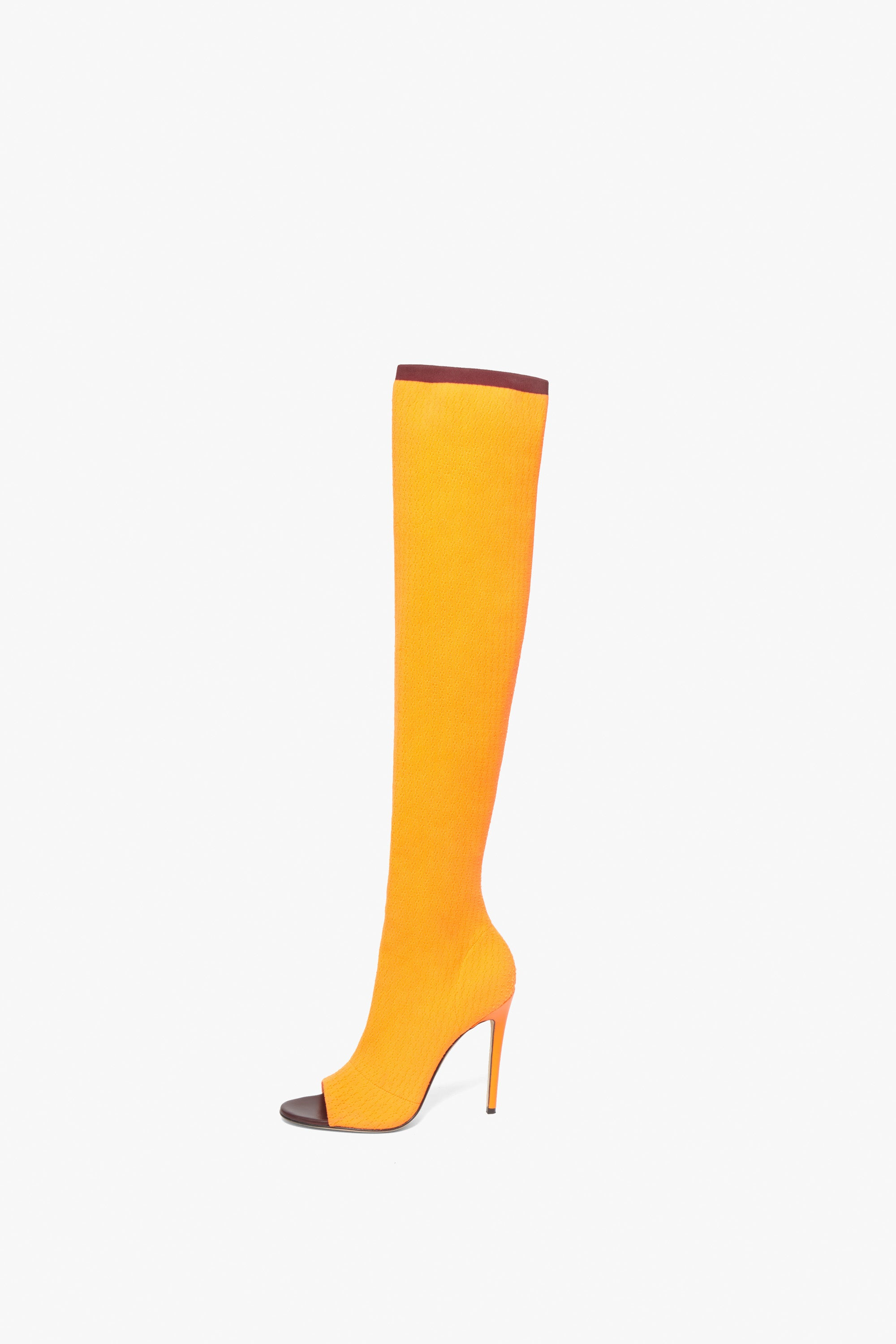 Jasmin 115MM Knit Boots In Bright Orange