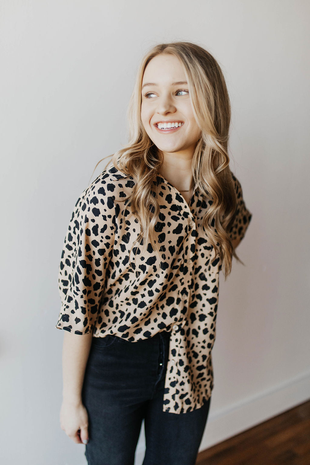 *NEW* BUDDY LOVE PERRY OVERSIZED BUTTON UP TOP SPECKLED