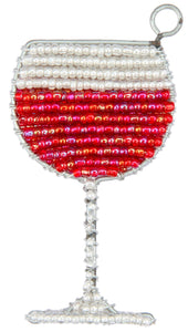 Red Wine Glass Keyring