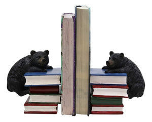 "Ebros Gift Rustic Wildlife Bear Cubs Climbing Stack of Books Bookends Pair Resin Figurine 6.5"" High Decorative Bears Statue Set Home and Office Cabin Lodge Mountain Resort Decor Book Organizer Accent"