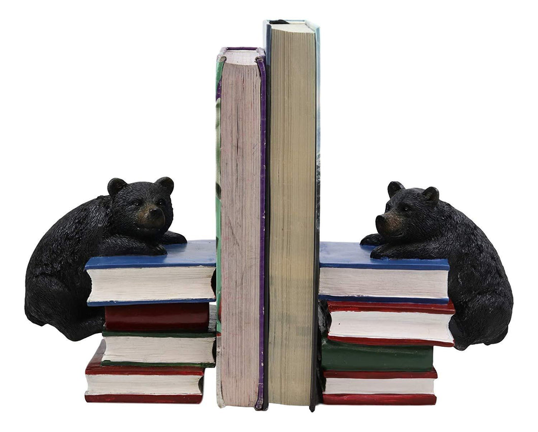 Ebros Gift Rustic Wildlife Bear Cubs Climbing Stack of Books Bookends Pair Resin Figurine 6.5