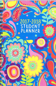 2017 - 2018 Student Planner Calendar (Floral Paisley) - School College Weekly / Monthly Agenda - Appointment Book Organizer - (Spiral Bound)