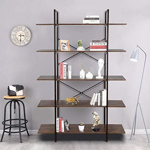 Results cocoarm 5 tier vintage industrial rustic bookshelf wall mountable bookcase in wood and metal ladder shelf for living room or office organizer storage bookshelf
