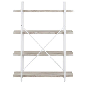 Cheap homissue 4 shelf modern style bookshelf light oak shelves and white metal frame open bookcases furniture for home office 54 9 inch height