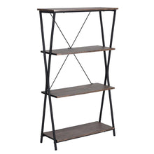 Load image into Gallery viewer, Try aingoo 4 shelf bookcase vintage industrial bookshelf mdf with metal frame shelving unit home office shelf organizer multipurpose storage shelf display rack brown