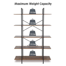 Load image into Gallery viewer, Products cocoarm 5 tier vintage industrial rustic bookshelf wall mountable bookcase in wood and metal ladder shelf for living room or office organizer storage bookshelf
