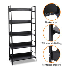 Load image into Gallery viewer, Top rated 5 shelf ladder bookcase industrial bookshelf wood and metal bookshelves plant flower stand rack book rack storage shelves for home decor