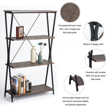 Load image into Gallery viewer, Best aingoo 4 shelf bookcase vintage industrial bookshelf mdf with metal frame shelving unit home office shelf organizer multipurpose storage shelf display rack brown