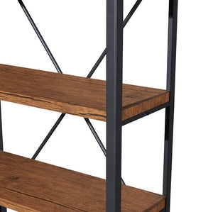 Organize with homissue 4 shelf vintage style bookshelf industrial open metal bookcases furniture etagere bookcase for living room office brown 48 2 inch height