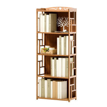 Load image into Gallery viewer, On amazon qiangda floor bookshelf student bookcase childrens bedroom bamboo file shelves magazine rack simple style 2 tiers 3 tiers 4 tiers optional size 70 x 30 x 135cm