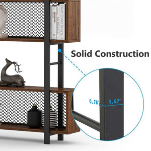 Storage organizer tribesigns 5 shelf bookshelf with metal wire vintage industrial bookcase display shelf storage organizer with metal frame for home office 47 2 l x 9 4 d x 71 h retro brown