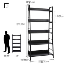 Load image into Gallery viewer, Top 5 shelf ladder bookcase industrial bookshelf wood and metal bookshelves plant flower stand rack book rack storage shelves for home decor
