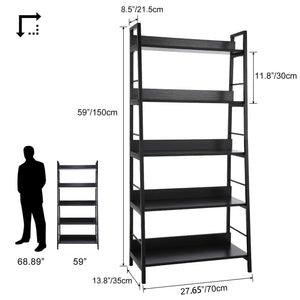 Top 5 shelf ladder bookcase industrial bookshelf wood and metal bookshelves plant flower stand rack book rack storage shelves for home decor
