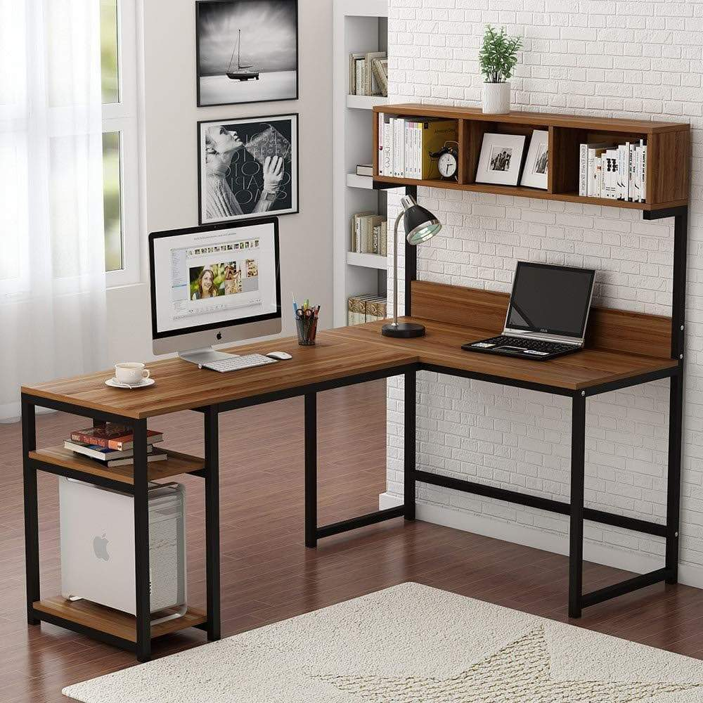 Discover tribesigns l shaped desk with hutch 68 corner computer desk gaming table workstation with storage bookshelf for home office dark walnut