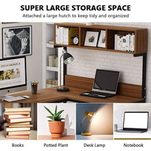 Load image into Gallery viewer, Explore tribesigns l shaped desk with hutch 68 corner computer desk gaming table workstation with storage bookshelf for home office dark walnut